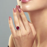 5.07 Ct Oval Red Created Ruby 925 Sterling Silver Ring
