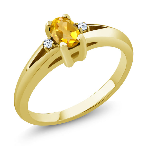 Gem Stone King 0.44 Ct Yellow Oval Citrine and White Topaz Yellow Gold Plated Silver Ring