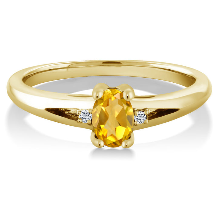 0.44 Ct Yellow Oval Citrine and White Topaz Yellow Gold Plated Silver Ring