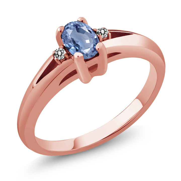 0.58 Ct Oval Blue Sapphire White Diamond 18K Rose Gold Plated Silver Ring (Available 5,6,7,8,9)