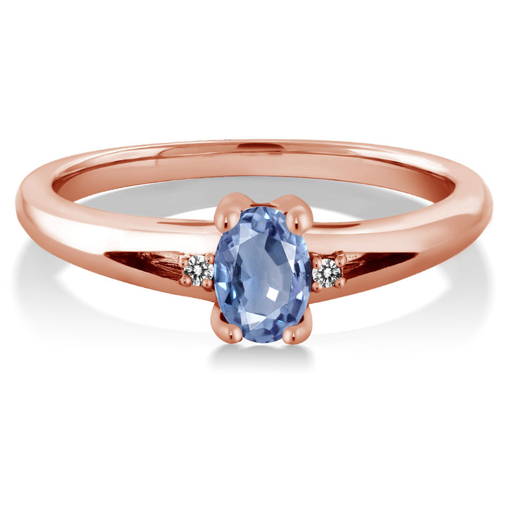0.58 Ct Oval Blue Sapphire White Diamond 18K Rose Gold Plated Silver Ring