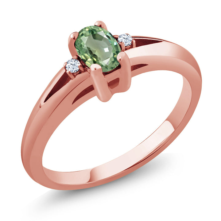 0.58 Ct Oval Green Sapphire 18K Rose Gold Plated Silver Engagement Ring (Available 5,6,7,8,9)