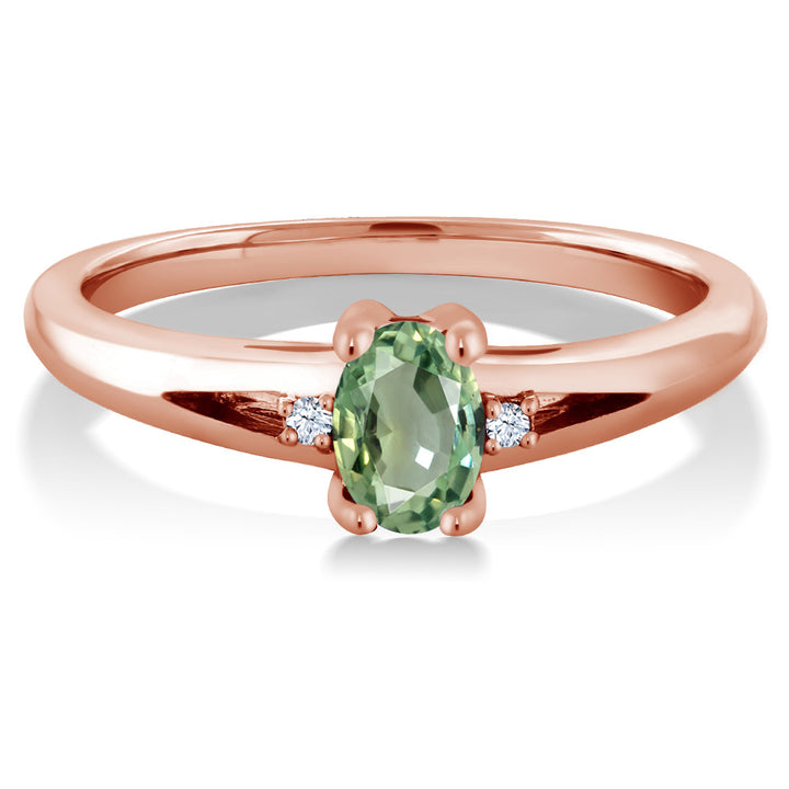 0.58 Ct Oval Green Sapphire 18K Rose Gold Plated Silver Engagement Ring