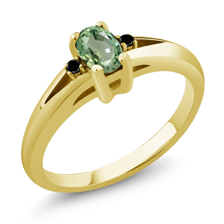 0.58 Ct Oval Green Sapphire Black Diamond 18K Yellow Gold Plated Silver Ring (Available 5,6,7,8,9)