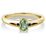 0.58 Ct Oval Green Sapphire Black Diamond 18K Yellow Gold Plated Silver Ring