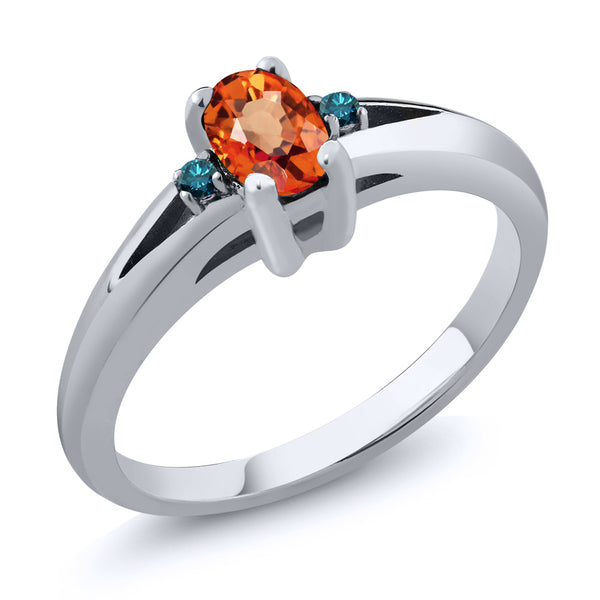 Gem Stone King 0.58 Ct Oval Orange Sapphire Blue Diamond 925 Sterling Silver Ring (Available 5,6,7,8,9)