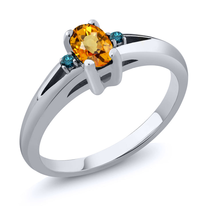 Gem Stone King 0.58 Ct Oval Yellow Sapphire Blue Diamond 925 Sterling Silver Ring