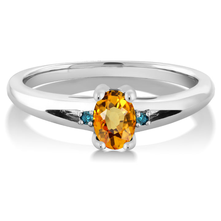 0.58 Ct Oval Yellow Sapphire Blue Diamond 925 Sterling Silver Ring