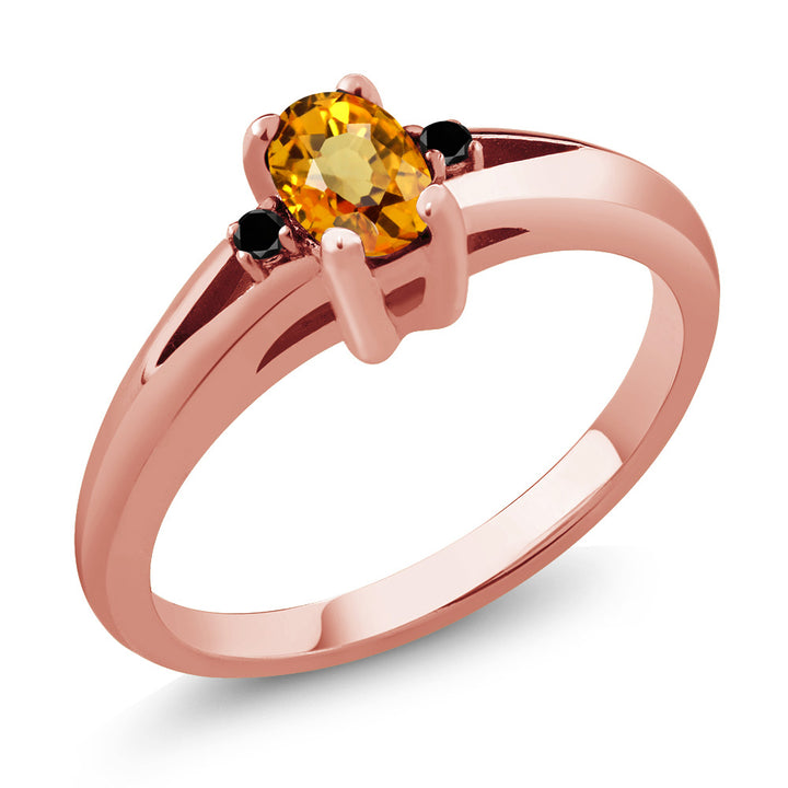Gem Stone King 0.58 Ct Oval Yellow Sapphire Black Diamond 18K Rose Gold Plated Silver Ring
