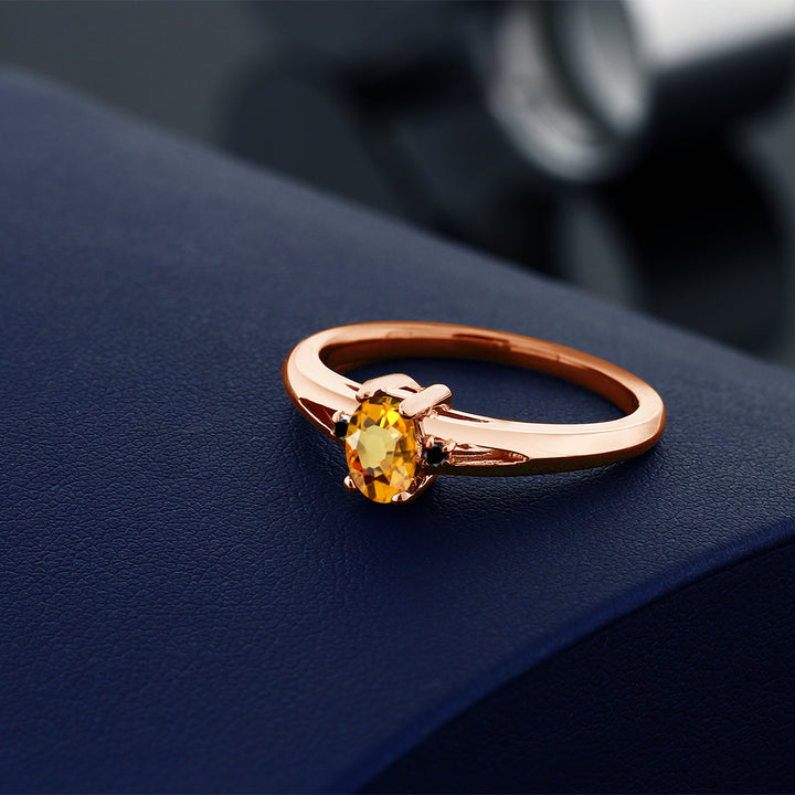 0.58 Ct Oval Yellow Sapphire Black Diamond 18K Rose Gold Plated Silver Ring