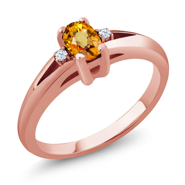 0.59 Ct Oval Yellow Sapphire White Topaz 18K Rose Gold Plated Silver Ring (Available 5,6,7,8,9)