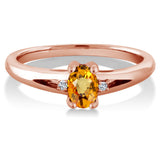 0.59 Ct Oval Yellow Sapphire White Topaz 18K Rose Gold Plated Silver Ring
