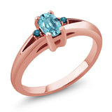 Gem Stone King 0.78 Ct Oval Blue Zircon Blue Diamond 18K Rose Gold Plated Silver Ring
