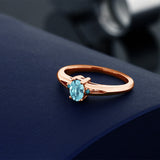 0.78 Ct Oval Blue Zircon Blue Diamond 18K Rose Gold Plated Silver Ring