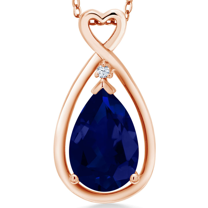 Gem Stone King 4.01 Ct Pear Shape Blue Simulated Sapphire 18K Rose Gold Plated Silver Pendant