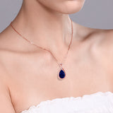 4.01 Ct Pear Shape Blue Simulated Sapphire 18K Rose Gold Plated Silver Pendant