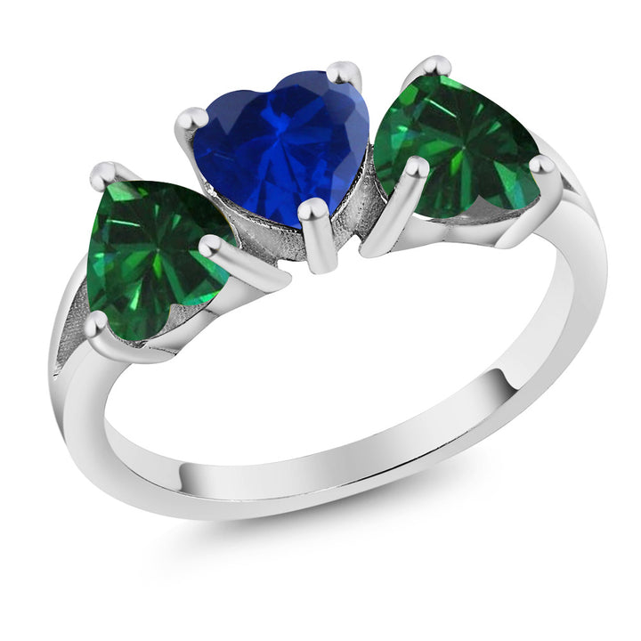 Gem Stone King 2.16Ct Simulated Sapphire and Simulated Emerald 925 Sterling Silver 3-Stone Ring