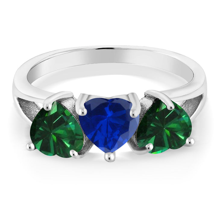 2.16Ct Simulated Sapphire and Simulated Emerald 925 Sterling Silver 3-Stone Ring