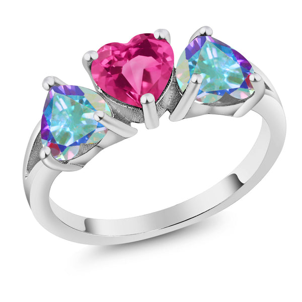 2.70 Ct Created Sapphire & Mercury Mystic Topaz 925 Sterling Silver 3-Stone Ring