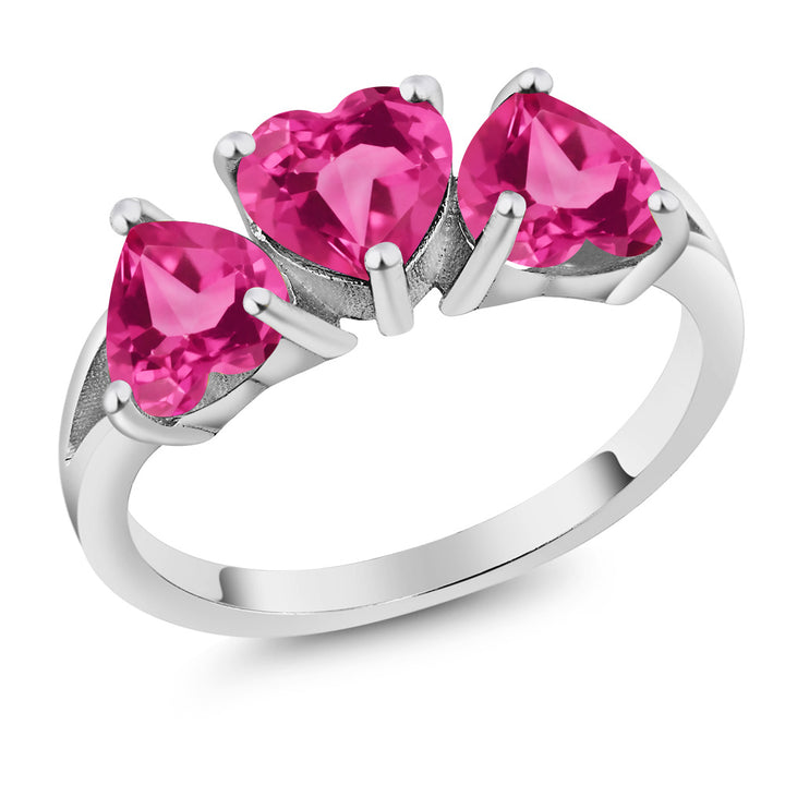 Gem Stone King 2.70 Ct Pink Created Sapphire Pink Mystic Topaz 925 Sterling Silver 3-Stone Ring