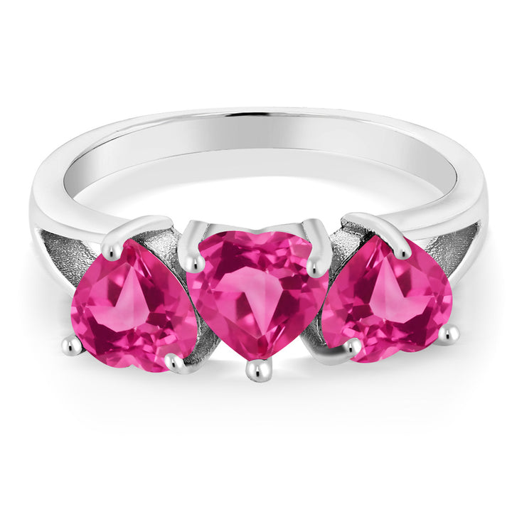 2.70 Ct Pink Created Sapphire Pink Mystic Topaz 925 Sterling Silver 3-Stone Ring
