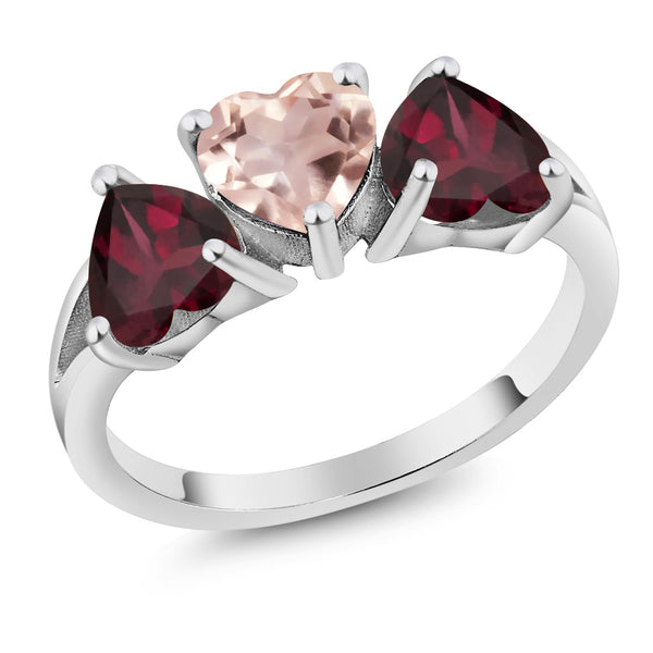 Gem Stone King 2.14Ct Heart Shape Rose Rose Quartz Red Rhodolite Garnet 925 Silver 3-Stone Ring