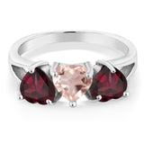 2.14Ct Heart Shape Rose Rose Quartz Red Rhodolite Garnet 925 Silver 3-Stone Ring