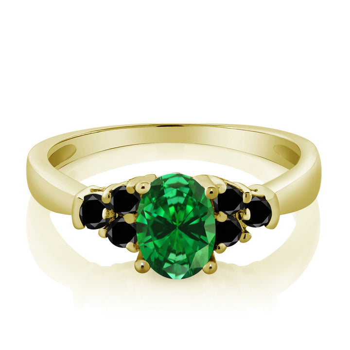 0.88 Ct Green Simulated Emerald Black Diamond 925 Yellow Gold Plated Silver Ring