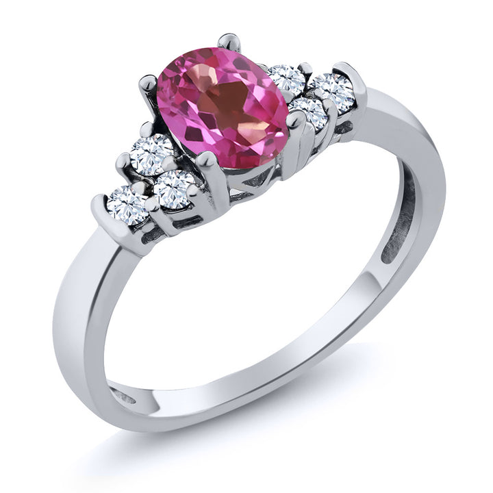 0.79 Ct Oval Pink Mystic Topaz White Topaz 925 Sterling Silver Ring