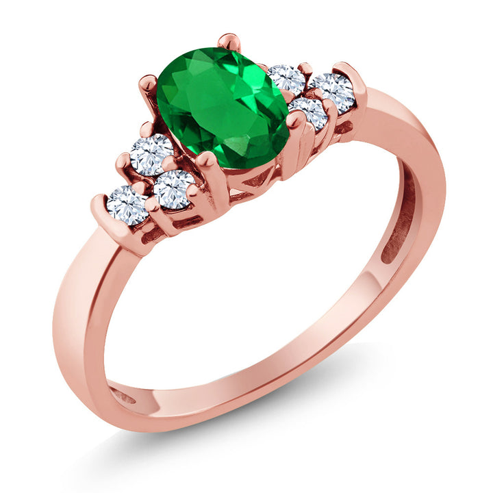 0.64 Ct Oval Green Nano Emerald White Topaz 925 Rose Gold Plated Silver Ring