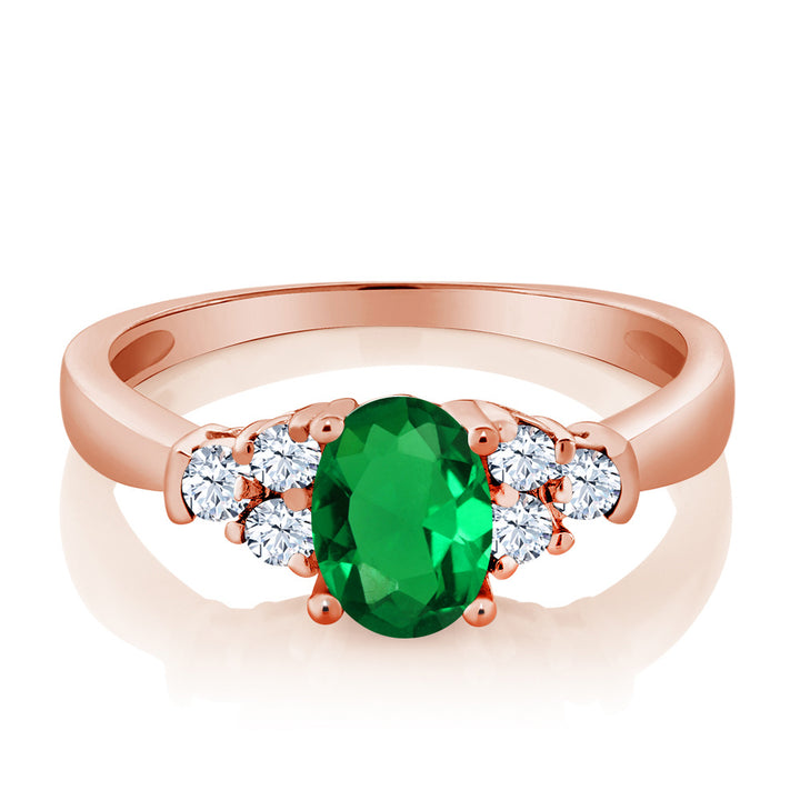 0.64 Ct Oval Simulated Emerald White Topaz 925 Rose Gold Plated Silver Ring