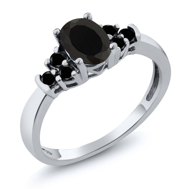 Gem Stone King Sterling Silver Oval Black Onyx & Black Diamond Women's Bridal Wedding Ring 0.59 cttw (Available 5,6,7,8,9)