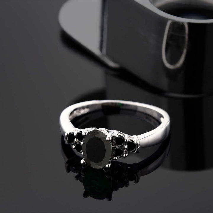 0.59 Ct Oval Black Onyx and Black Diamond 925 Sterling Silver Women's Ring