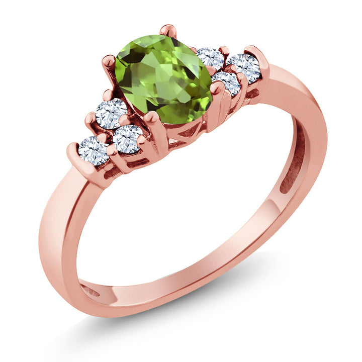 Gem Stone King 0.74 Ct Oval Green Peridot White Topaz 925 Rose Gold Plated Silver Ring
