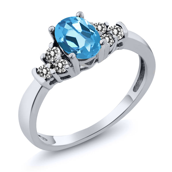 Gem Stone King 0.75 Ct Oval Swiss Blue Topaz White Diamond 925 Sterling Silver Ring