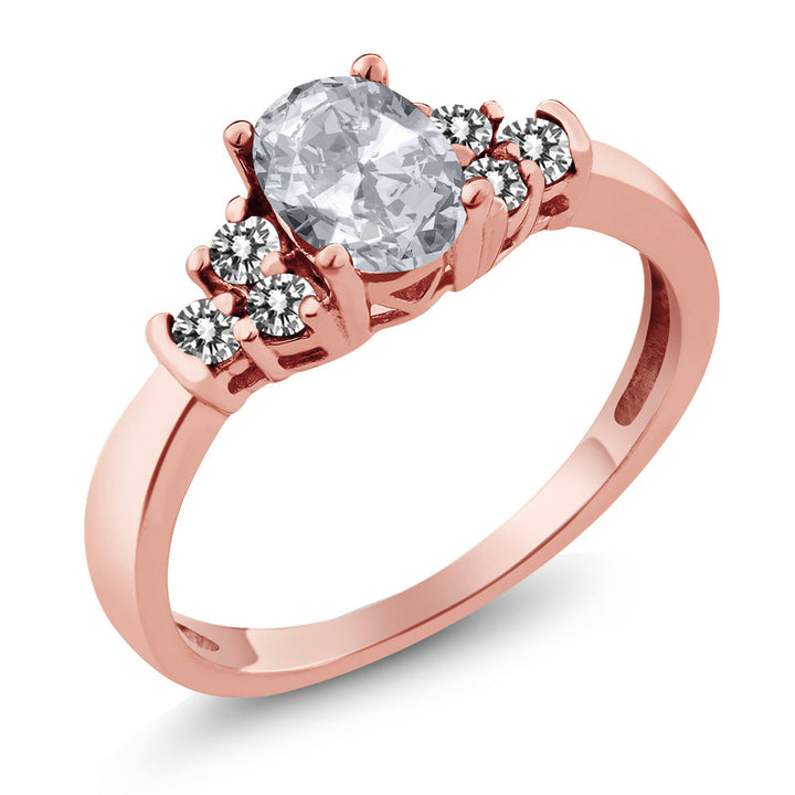 Gem Stone King 0.75 Ct Oval White Topaz White Diamond 925 Rose Gold Plated Silver Ring
