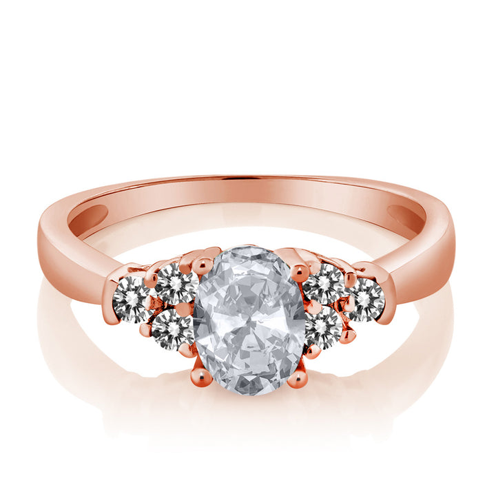 0.75 Ct Oval White Topaz White Diamond 925 Rose Gold Plated Silver Ring