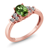 Gem Stone King 0.60 Ct Oval Green Tourmaline White Diamond 925 Rose Gold Plated Silver Ring