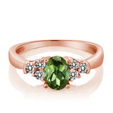 0.60 Ct Oval Green Tourmaline White Diamond 925 Rose Gold Plated Silver Ring