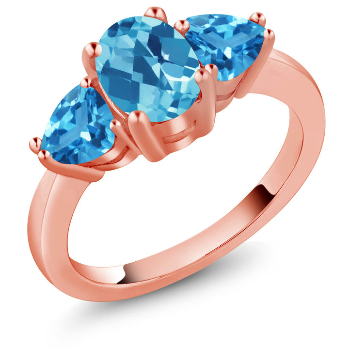 Gem Stone King 2.46 Ct Oval Checkerboard Swiss Blue Topaz 18K Rose Gold Plated Silver 3 Stone Ring