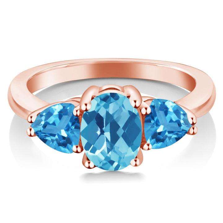 2.46 Ct Oval Checkerboard Swiss Blue Topaz 18K Rose Gold Plated Silver Ring