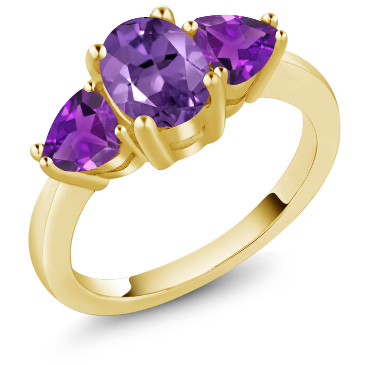 Gem Stone King 1.80 Ct Oval Purple Amethyst 18K Yellow Gold Plated Silver 3 Stone Ring
