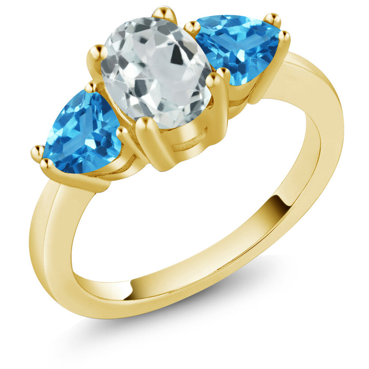 Gem Stone King 2.26 Ct Sky Blue Aquamarine Swiss Blue Topaz 18K Yellow Gold Plated Silver 3 Stone Ring