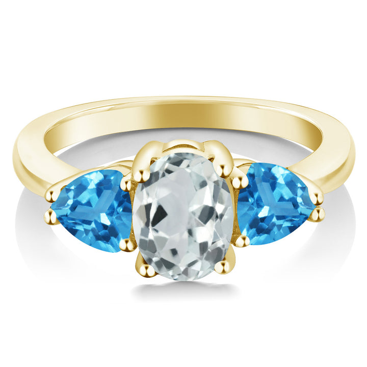 2.26 Ct Sky Blue Aquamarine Swiss Blue Topaz 18K Yellow Gold Plated Silver Ring
