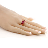 2.23 Ct Oval Red Created Ruby Red Garnet 18K Rose Gold Plated Silver Ring