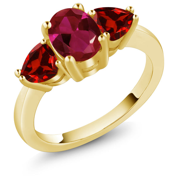 Gem Stone King 2.23 Ct Oval Red Created Ruby Red Garnet 18K Yellow Gold Plated Silver 3 Stone Ring