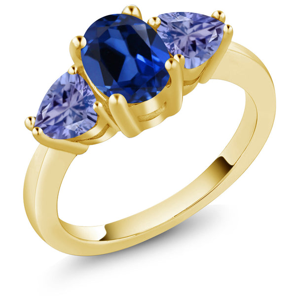 Gem Stone King 2.40Ct Blue Simulated Sapphire Blue Tanzanite 18K Yellow Gold Plated Silver 3 Stone Ring