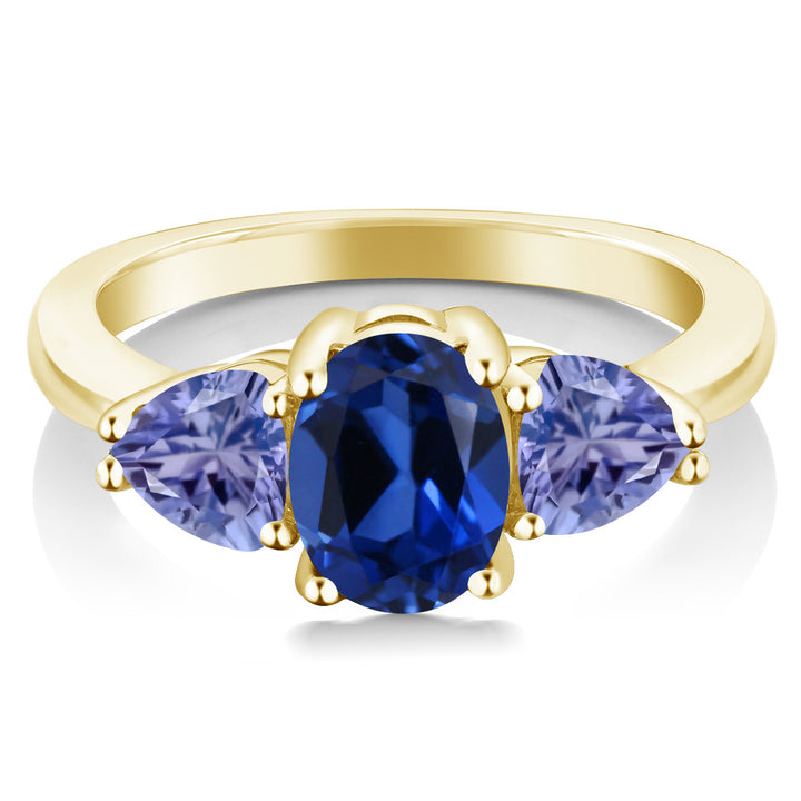 2.40Ct Blue Simulated Sapphire Blue Tanzanite 18K Yellow Gold Plated Silver Ring