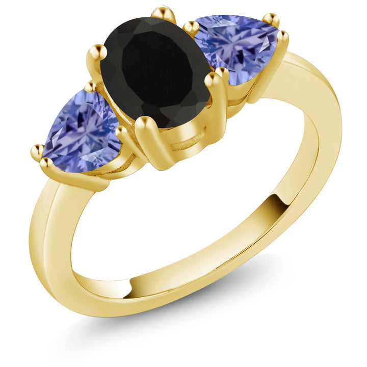 Gem Stone King 2.05 Ct Oval Black Onyx Blue Tanzanite 18K Yellow Gold Plated Silver 3 Stone Ring