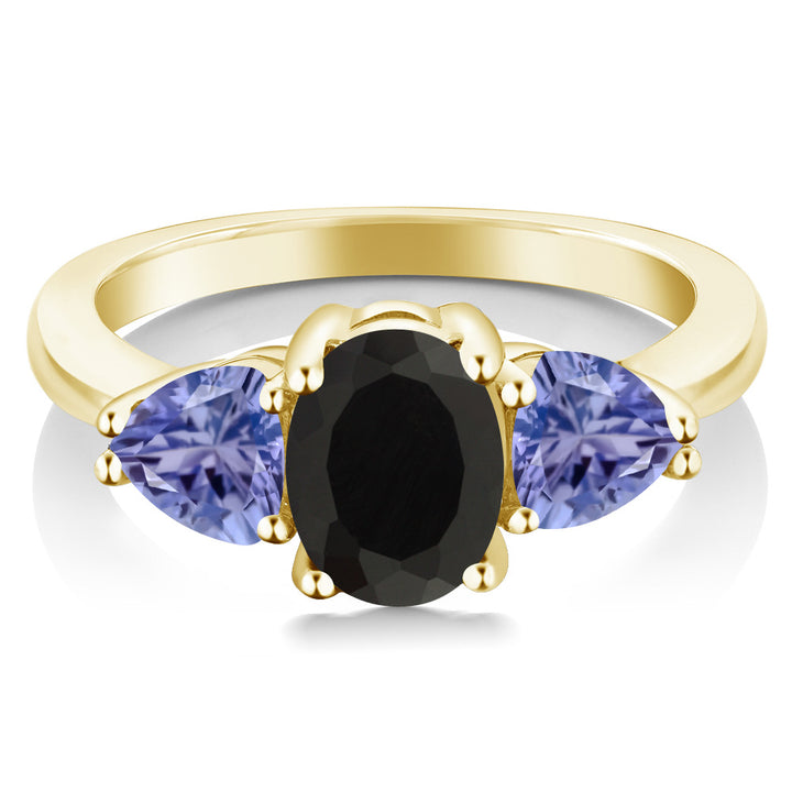 2.05 Ct Oval Black Onyx Blue Tanzanite 18K Yellow Gold Plated Silver Ring